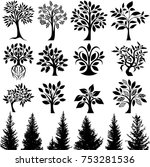 decorative trees collection | Shutterstock .eps vector #753281536