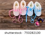 2018 new year written laces ... | Shutterstock . vector #753282130