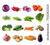 collection of vegetables... | Shutterstock . vector #753282310