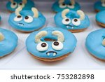 cute donut. sugar donut with... | Shutterstock . vector #753282898