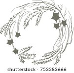 new year's wreath of shiny... | Shutterstock .eps vector #753283666