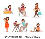 set of mom and baby. mother... | Shutterstock .eps vector #753284629