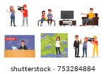mass media. a set of characters ... | Shutterstock .eps vector #753284884