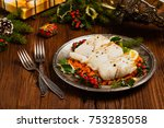 christmas fish. roasted cod... | Shutterstock . vector #753285058