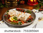 christmas fish. roasted cod... | Shutterstock . vector #753285064