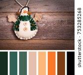 hand made felt snowman... | Shutterstock . vector #753285268