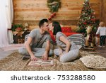 young kissing happy parents... | Shutterstock . vector #753288580