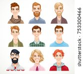 set of portraits of avatars of... | Shutterstock .eps vector #753300466