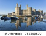 castle and moored boats at... | Shutterstock . vector #753300670