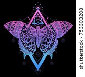magic butterfly tattoo and t... | Shutterstock .eps vector #753303208