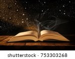 image of open antique book on... | Shutterstock . vector #753303268