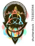 celtic color tattoo and t shirt ... | Shutterstock .eps vector #753303544