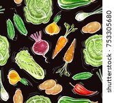 vegetables seamless pattern.... | Shutterstock .eps vector #753305680