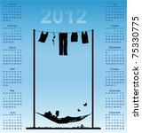 2012 calendar with woman...   Shutterstock .eps vector #75330775