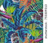 tropical jungle abstract color... | Shutterstock .eps vector #753309313