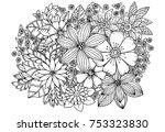 doodle floral pattern in black... | Shutterstock . vector #753323830