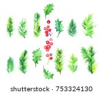 watercolor christmas set with... | Shutterstock . vector #753324130