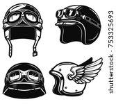 set of racer helmets on white... | Shutterstock .eps vector #753325693