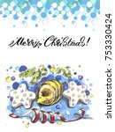 merry christmas lettering... | Shutterstock . vector #753330424