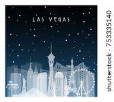 winter night in las vegas.... | Shutterstock .eps vector #753335140