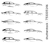 Stock vector set of black silhouettes concept cars on white background vector illustration 753335146