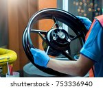 close up light alloy car wheel... | Shutterstock . vector #753336940