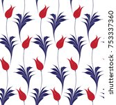 elegant iznik style tulips...   Shutterstock .eps vector #753337360