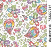 vector floral cute seamless... | Shutterstock .eps vector #753337969