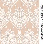 vector damask seamless pattern... | Shutterstock .eps vector #753339469