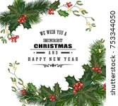 merry christmas greeting card... | Shutterstock .eps vector #753344050