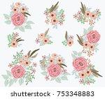 floral arrangements in small... | Shutterstock .eps vector #753348883