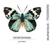 vector polygonal butterfly... | Shutterstock .eps vector #753350050