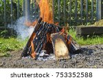 firewood stacked with fire and... | Shutterstock . vector #753352588