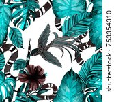fashion print. watercolor... | Shutterstock . vector #753354310