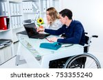 disabled businessman in... | Shutterstock . vector #753355240
