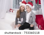 happy little couple  christmas... | Shutterstock . vector #753360118