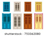 a set of classic doors windows. ... | Shutterstock .eps vector #753362080