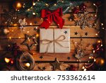 christmas gift in a cozy... | Shutterstock . vector #753362614