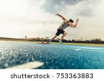 runner using starting block to... | Shutterstock . vector #753363883