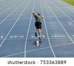 rear view of an athlete... | Shutterstock . vector #753363889