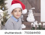 happy little boy   christmas day | Shutterstock . vector #753364450