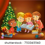 kids reading the book beside a... | Shutterstock .eps vector #753365560