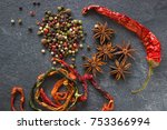 spices on the stone black... | Shutterstock . vector #753366994