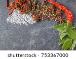 spices on the stone black... | Shutterstock . vector #753367000