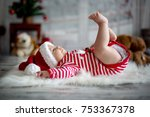 christmas portrait of cute... | Shutterstock . vector #753367378
