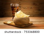 potato chips with cola on a... | Shutterstock . vector #753368800