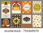 happy thanksgiving card... | Shutterstock .eps vector #753369070