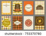 happy thanksgiving card... | Shutterstock .eps vector #753370780
