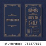 wedding invitation card set art ... | Shutterstock .eps vector #753377893
