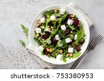 beetroot  arugula  feta cheese... | Shutterstock . vector #753380953